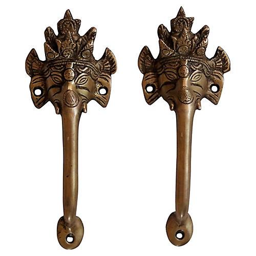 Brass Ganesha Door Handles, Pair