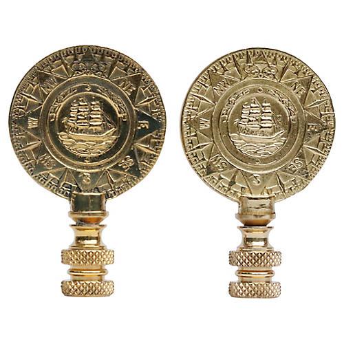 Brass Ship Lamp Finials, Pair