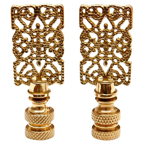 Brass Filigree Lamp Finials - a Pair