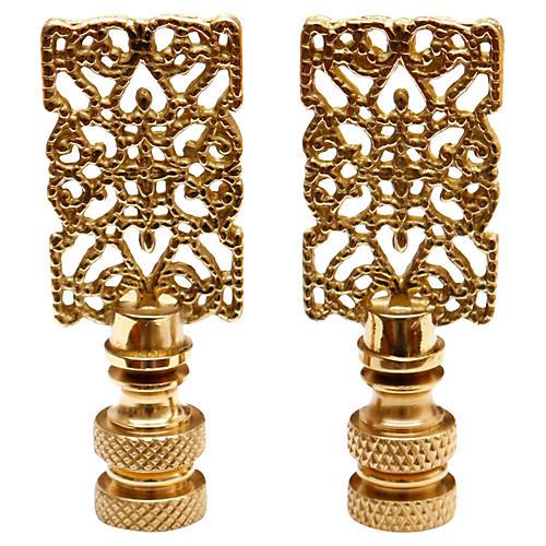 Brass Filigree Lamp Finials - a Pair