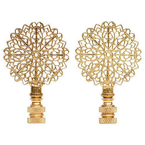 Brass Filigree Finials - a Pair