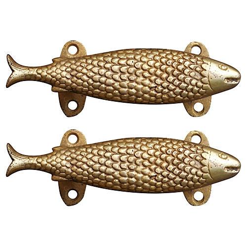 Brass Fish Door Handles, Pair