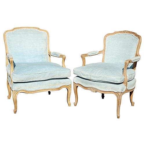 His & Hers French Style Armchairs