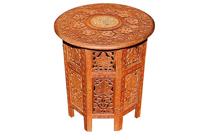 Carved Teak Indian Accent Table