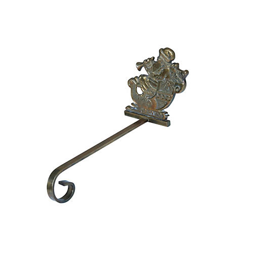 Brass Santa Christmas Stocking Hanger