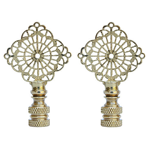 Brass Filigree Lamp Finials, Pair