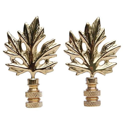 Brass Maple Leaf Lamp Finials - a Pair