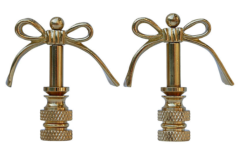 Brass Bow Lamp Finials - a Pair