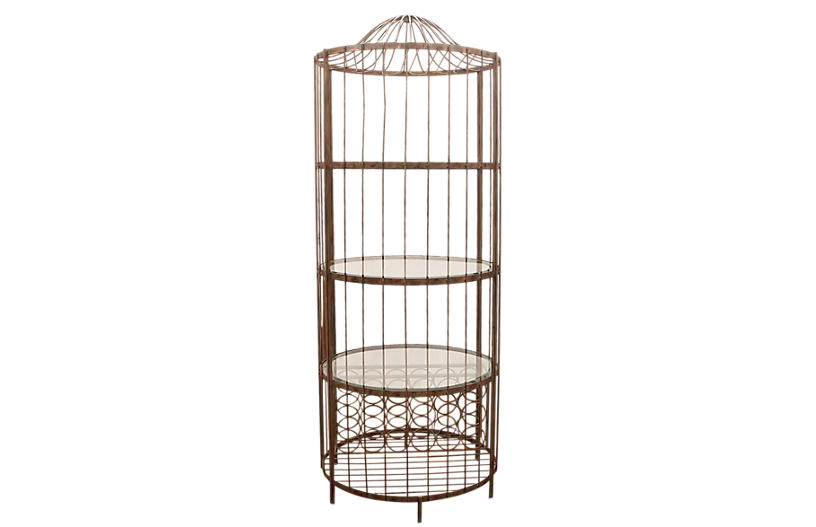 Transitional Metal and Glass Wine Rack