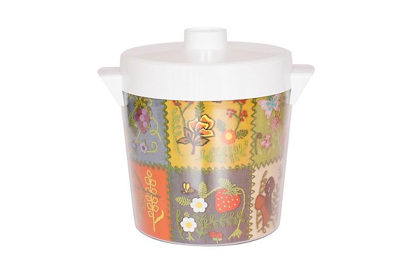Mid Century Floral Ice Bucket