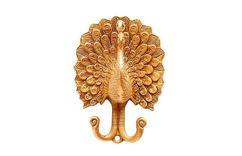 Gold Brass Peacock Wall Hooks