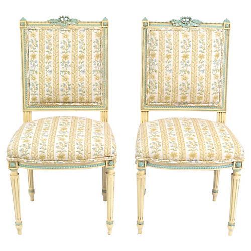 19th-C. French Louis-XVI Chairs, Pair