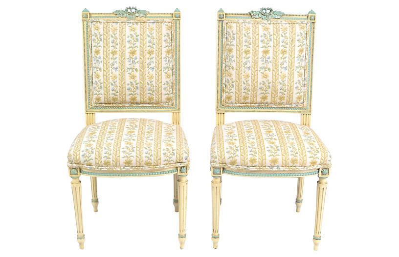 19th-C. French Louis-XVI Chairs, Pair