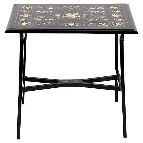 19th-C. Italian Ebony Inlaid Table
