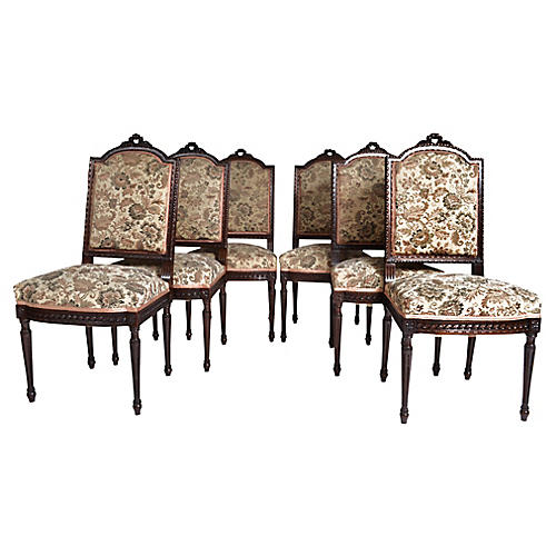 French Louis XVI-Style Chairs, S/6