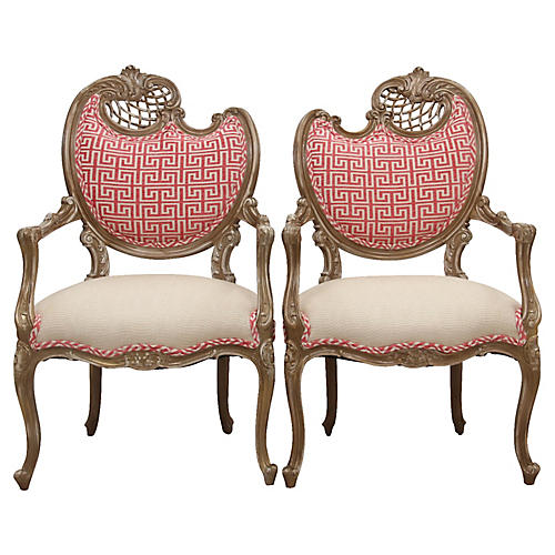 Louis XV Rococo Style Chairs, Pair
