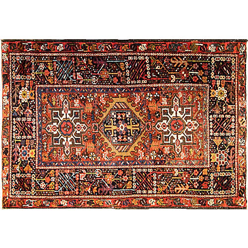 "3'2"" x 4'9""An Antique Persian Karaja Rug"