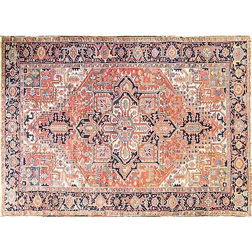 """Antique Persian Heriz Rug, 7'1"""" x 10'7"""""""