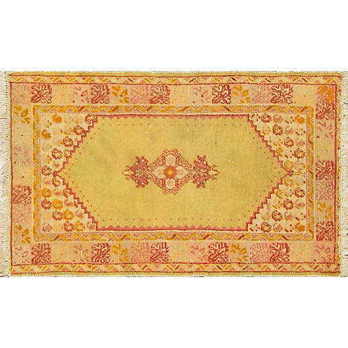 "Antique Oushak Rug, 2'7"" x 4'10"""