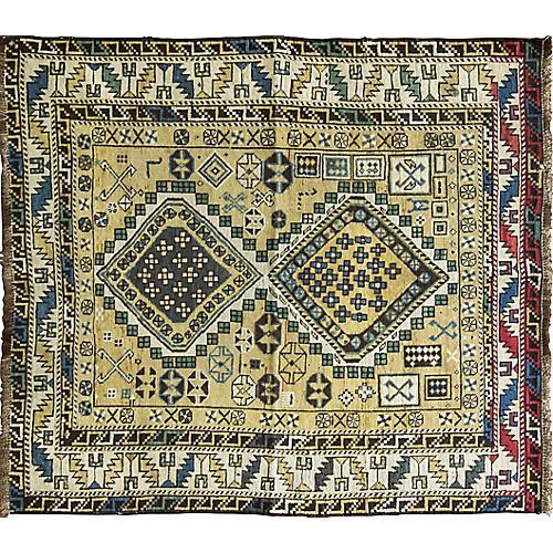 Antique Shirvan Caucasian Rug, 4' x 5'