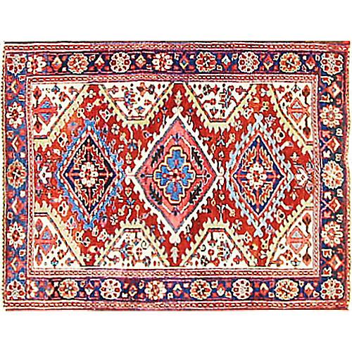 """Antique Persian Heriz Rug, 3'8"""" x 4'8"""""""
