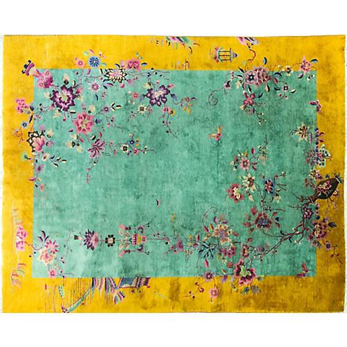 "Chinese Art Deco Carpet, 9' x 11'5"""