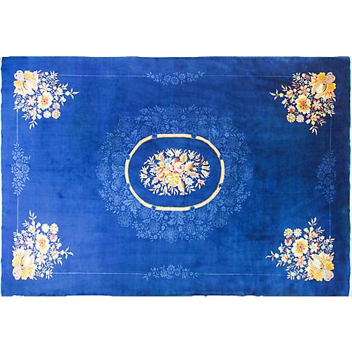 "10'9"" x 16'4"" Antique Art Deco Carpet"
