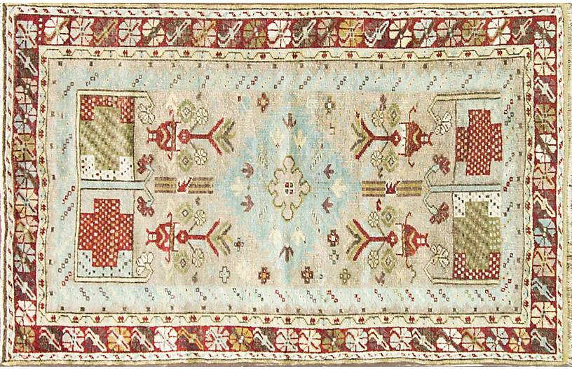 Antique Turkish Oushak Rug 3'5