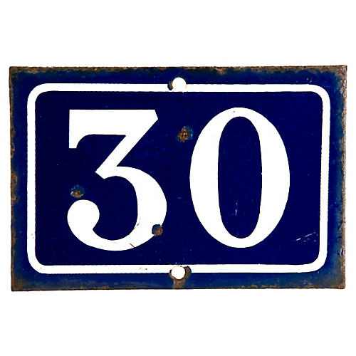 French Enamel House Number 30