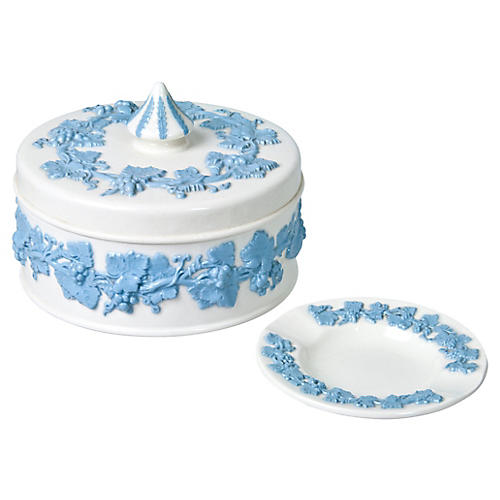 Wedgwood Queen's Ware Box And Ashtray