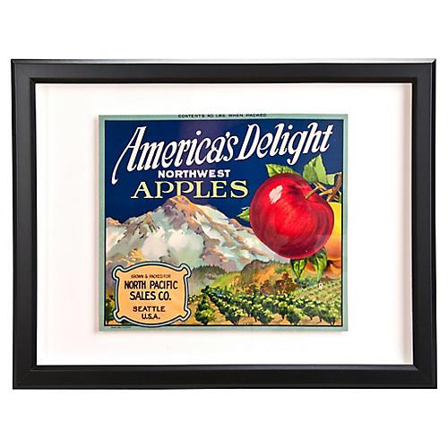 Framed America's Delight Crate Label