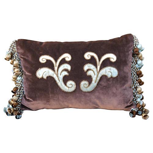 Italian Appliquéd Silk Velvet Pillow