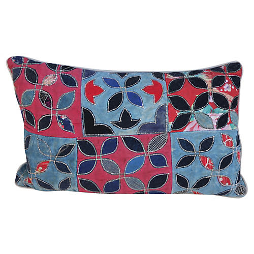 Pillow w/ Patchwork Cotton Quilt