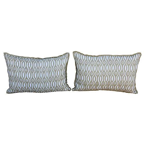 Custom Printed Linen Pillows, Pair
