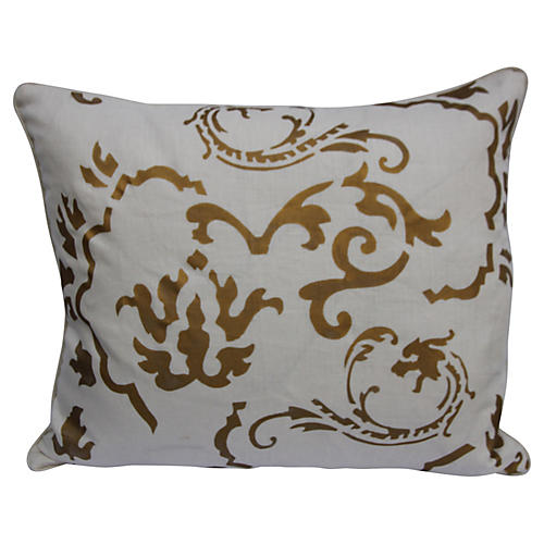 Copper Stenciled Linen Pillow