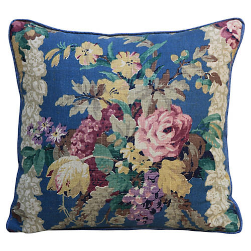 Printed Linen Floral Pillow