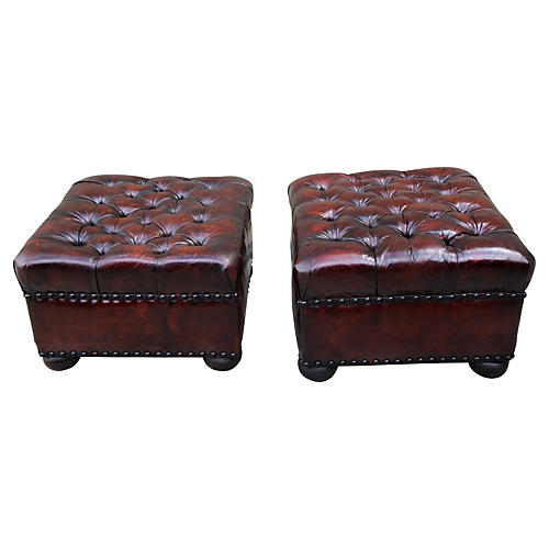 English Leather Tufted Ottomans, Pair