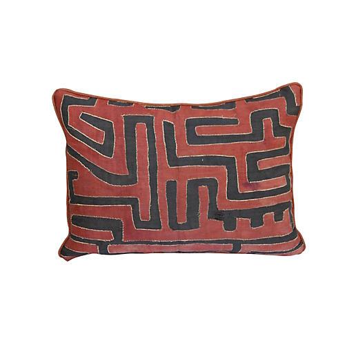 Rust & Black Kuba Cloth Pillow