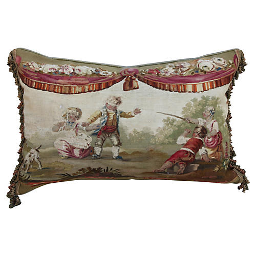 Aubusson Tapestry Pillow w/ Mohair Back