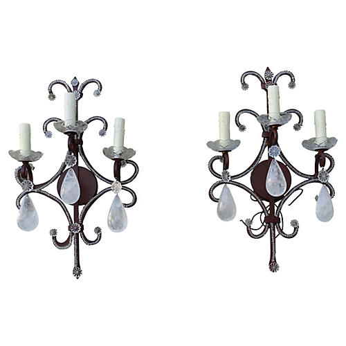 Rock Crystal & Wrought Iron Sconces, S/2