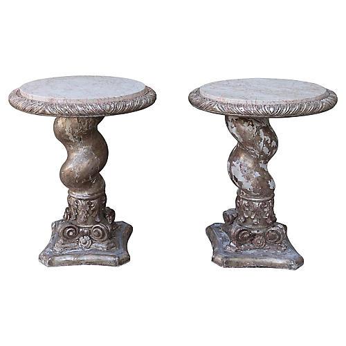 Twisted Italian Column Tables, Pair