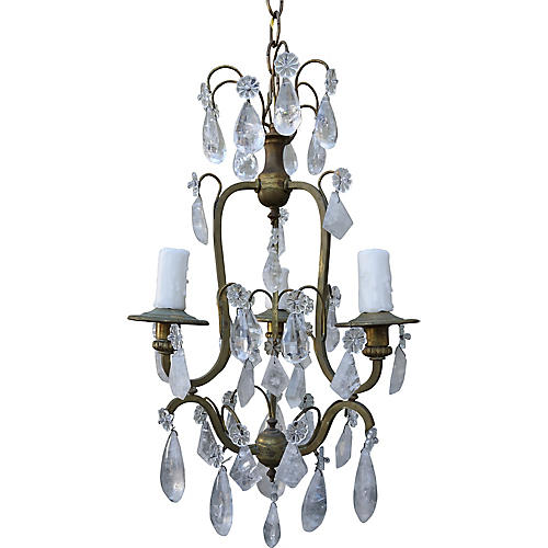3-Light Rock Crystal Chandelier