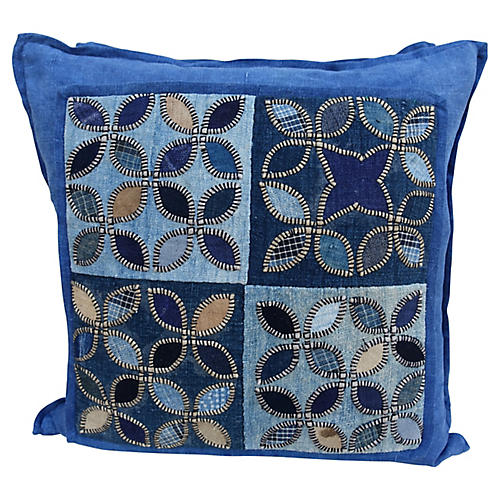 Blue Quilted Pillows w/ Linen Backs, Pr