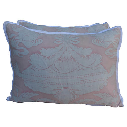 Soft Pink Fortuny Pillows, Pair