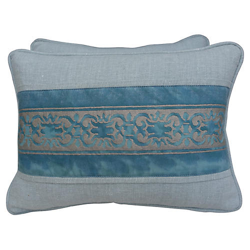 Blue & Silver Fortuny Pillows, Pair