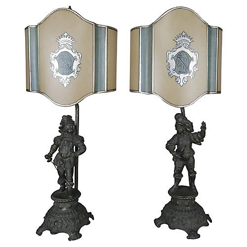 Spanish Figural Lamps w/ Shield Shades