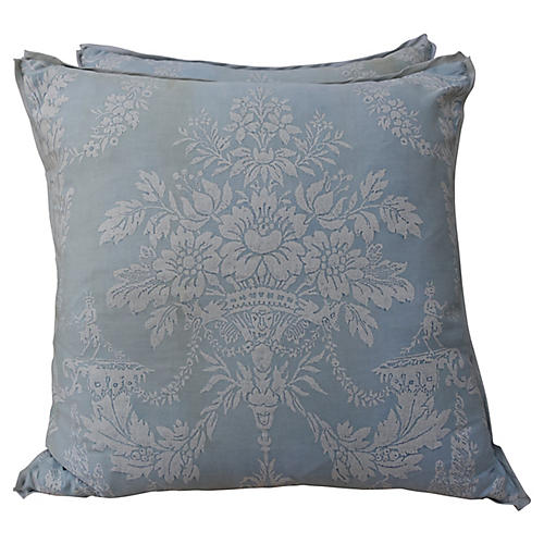 Blue & White Printed Cotton Pillows, Pr
