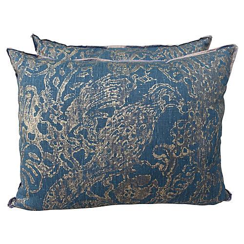 Teal Pair of Printed Linen Silk Pillows