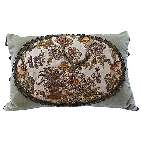 Sage Green Embroidered Velvet Pillow