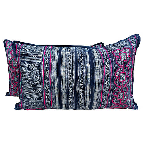 Blue and White Batik Pillows, Pair